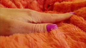 Fur hand hand manicure. Elegance slow motion stock video footage
