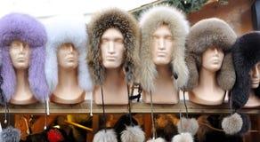 Fur hat at fair in Tallinn Stock Photos