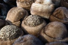 Fur hats. Colored fur hats in a traditional market in Romania Stock Photo