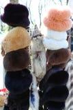 Fur hats for women Stock Photos