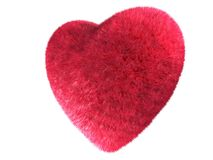 Fur heart. 3d rendered illustration of a red fur heart Royalty Free Stock Photos
