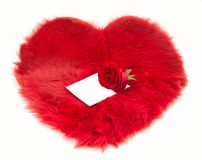 Fur heart and note on it Royalty Free Stock Photo