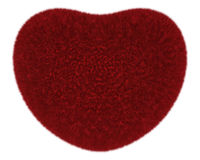 Fur heart. Red fur heart isolated on white Stock Photography