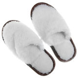 Fur house slippers Stock Image