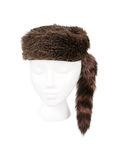 Fur Hunter Hat Isolated on White. Old fashioned fur hunting hat isolated on white and resting on a model head for proper perspective Stock Image