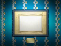Fur Kitchen. Image of wooden frame with plate on the wall Stock Photos