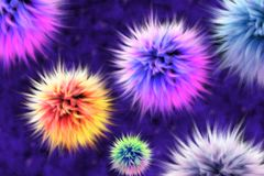Fur lumps. Colorful abstract background consisting of fur lumps. Colorful abstract background consisting of fur lumps. Violet, blue, orange fur balls. 3D render stock illustration