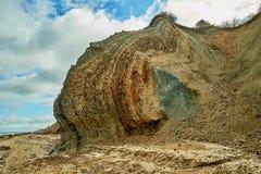 Fur marine sediment clay minerals, Fur Island, Denmark. Fur formation, marine sediment made of diatoms and clay minerals, Palaeocene-Eocene, Fur Island, Denmark royalty free stock photo
