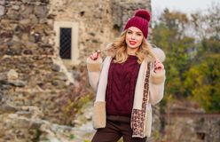 Free Fur On Hood. Hit Of Season. Stay Warm And Fashionable. Woman Wear Furry Coat. Winter Clothes. Wardrobe For Cold Weather Royalty Free Stock Photo - 168396775