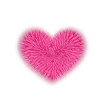 Fur Pink Heart For Valentines Day Isolated On White Background Stock Image