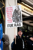 Fur protestor. LONDON - NOVEMBER 30: Protestors stand outside Harvey Nichols Knightsbridge store protesting at the sale of animal fur products and demanding a Stock Photo