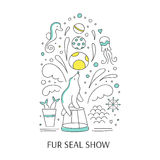 Fur seal show banner. Vector doodle illustration for oceanarium or dolphinarium. Clean elegant fur seal show background. For posters, cards, brochures and flyers Stock Images