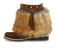 Fur shoe. On white background Stock Photo