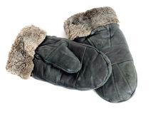 Fur suede mittens on white background Royalty Free Stock Photo