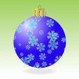 Fur-tree ball. Dark blue fur-tree ball with snowflakes on a green background. There is a variant in a vector Stock Photos