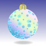 Fur-tree ball. Striped fur-tree ball with snowflakes on a violet background. There is a variant in a vector Stock Images