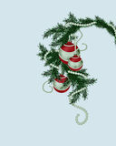 Fur-tree branch with Christmas balls Royalty Free Stock Image