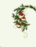 Fur-tree branch with Christmas balls Royalty Free Stock Images