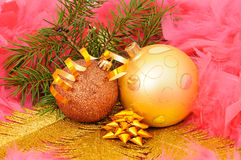 Fur-tree branch and decorations Royalty Free Stock Photo