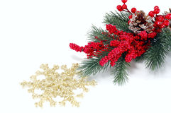 Fur-tree branch with red berries and snowflakes Royalty Free Stock Photography