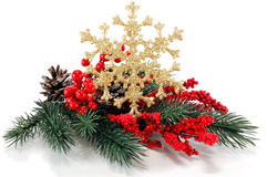 Fur-tree branch with red berries and snowflakes Royalty Free Stock Photo