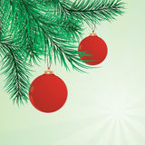 The fur-tree branches decorated with spheres. Vector illustration vector illustration