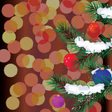 The fur-tree branches decorated with spheres. Vector illustration royalty free illustration