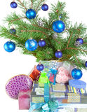 Fur-tree branches and a gift box Stock Images
