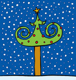 Fur-tree decorated by spheres and a star. A vector illustration costing on a snow Royalty Free Stock Photography