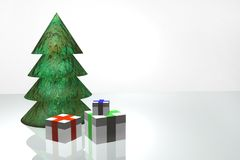 Fur-tree and gifts. Christmas tree and gifts are executed by three-dimensional editor Stock Photography