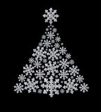 Fur-tree made from diamond snowflake Stock Photo