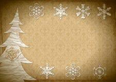 Fur-tree and snowflakes Royalty Free Stock Photo