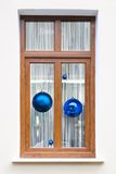Fur-tree spheres holiday background. Fur-tree spheres in holiday window xmas background Stock Photos