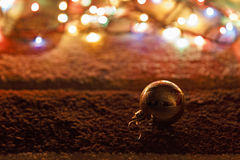 Fur-tree toy and garland on the carpet Stock Photo