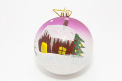 Fur-tree toy - a sphere with house. And fur-tree drawing stock photos