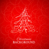 Fur-tree, vector. Simple sketch and glossy Christmas tree isolated on brown background Stock Photos