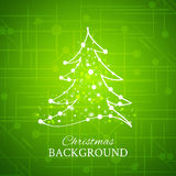 Fur-tree, vector. Simple sketch and glossy Christmas tree isolated on green background Stock Photography