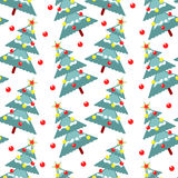 Fur-trees seamless pattern. Vector background Royalty Free Stock Photography
