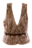 Fur vest. With a brown belt with a white background stock images