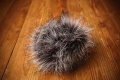 Fur windscreen for the microphone.  Stock Image