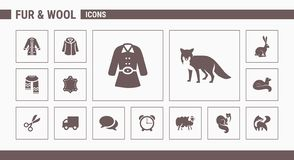 Fur & Wool Icons - Set Web & Mobile 01 stock illustration