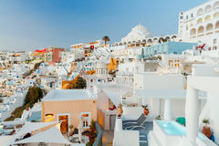 Fura at sunset. The capital of Santorini island. Greece. Stock Images