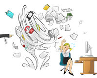 Furacão do trabalho - versão da mulher com ordem do chefe Foto de Stock Royalty Free