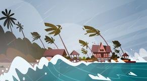 Furacão entrante do furacão do mar em ondas enormes do oceano em casas no conceito tropical da catástrofe natural da costa ilustração stock
