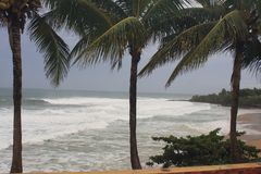 Furacão Irma Rincon da praia das abóbadas, Porto Rico 2017 fotos de stock royalty free