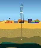 Furando um poço de petróleo (Médio Oriente) Fotos de Stock Royalty Free