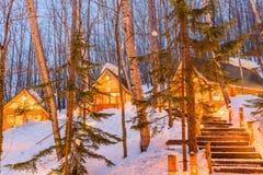 Furano, Japan Winter Cabins Royalty Free Stock Photos