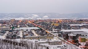 Furano, Hokkaido, Japan Cityscape in Winter. Furano, Japan winter cityscape time lapse in Hokkaido stock video footage