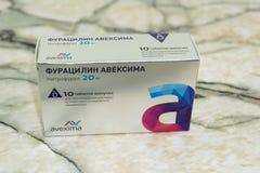 Furatsilin aveksima Pills different pills isolated on white . Russia Berezniki 28 September 2018 stock photos