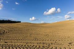 Furchen auf dem gepflogenen Gebiet im hügeligen Gelände im Frühjahr Lizenzfreie Stockfotos